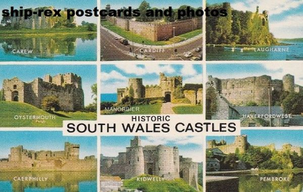 South Wales Castles, multi-view postcard